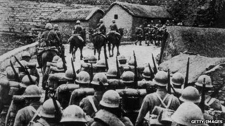 Japanese troops entering Manchuria in the wake of the so-called Mukden Incident during the Sino-Japanese War, 1 September 1931