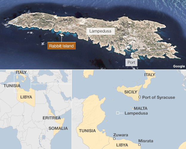 Map showing Lampedusa