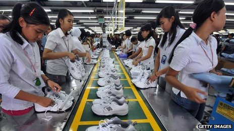 Workers at a shoe factory in Indonesia
