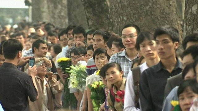 People lining up to pay homage to Gen Giap in Hanoi, Vietnam, 6 October