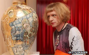 Grayson Perry with his artwork Urn for the Living