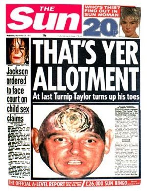 The Sun's reaction to Taylor's England resignation
