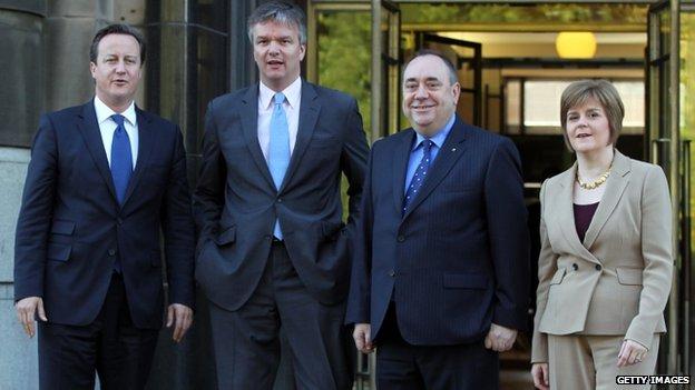 David Cameron, Michael Moore, Alex S almond and Nicola Sturgeon