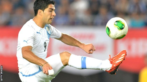 Luis Suarez playing for Uruguay