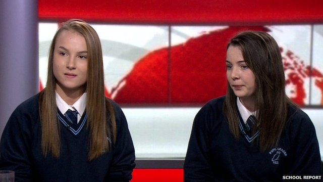 School Reporters Holly and Lauren speaking live on the BBC News Channel