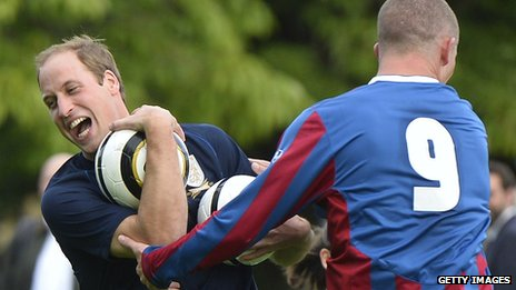 Prince Williams trains with royal staff