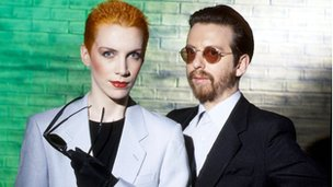 Eurythmics backstage at Top Of The Pops in 1983