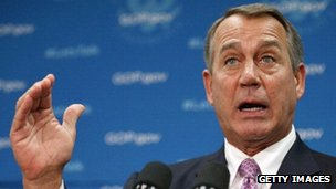 John Boehner addresses the media after a Republican caucus meeting.