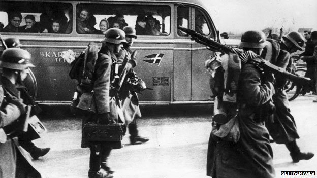 German troops invading Denmark