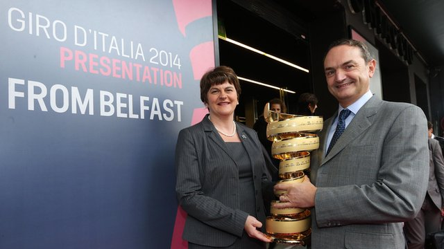 Northern Ireland Tourism Minister Arlene Foster with Riccardo Taranto, the chief executive of Giro d'Italia organisers RCS Sport
