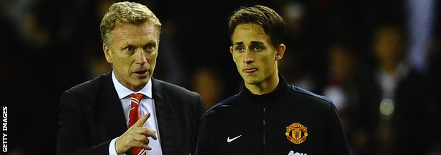 Manchester United manager David Moyes (left) with Adnan Januzaj