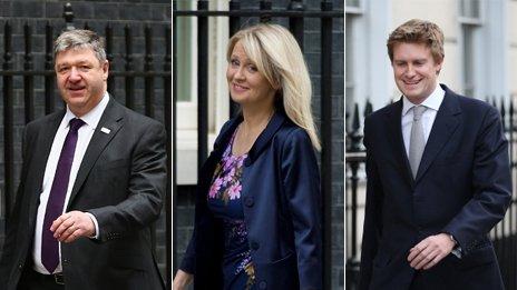 Alistair Carmichael, Esther McVey and Tristram Hunt