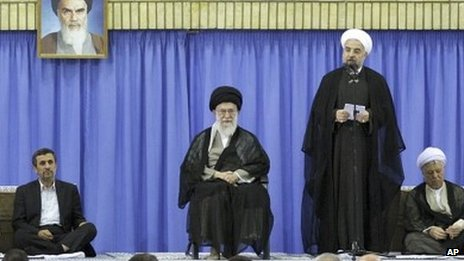 Mahmoud Ahmadinejad (left), Ayatollah Ali Khamenei (centre), and Hassan Rouhani (file photo)