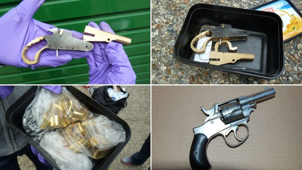 Weapons and ammunition seized by police officers in Sussex and Kent