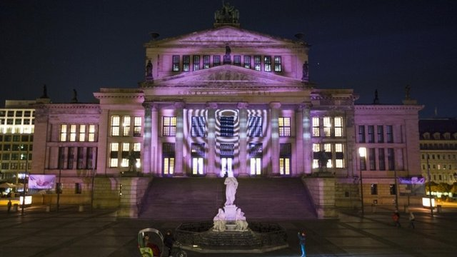 Lights and projections illuminate the German capital