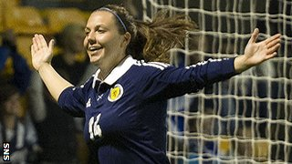 Rachel Corsie playing for Scotland