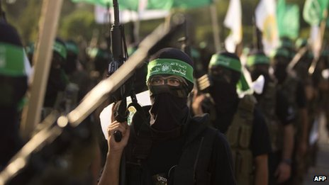 Hamas militants parade in Gaza City (14/09/13)