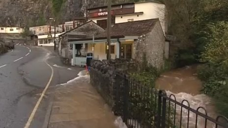 Flooding at Cheddar Gorge in Somerset