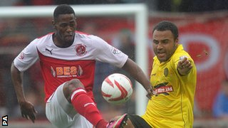 Fleetwood's Jamille Matt in action against Burton