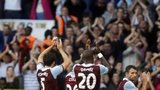 West Ham United's players applaud their fans after winning the match 3-0 against Tottenham Hotspur