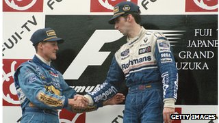 Damon Hill and Michael Schumacher