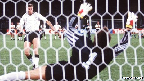 Chris Waddle misses penalty in 1990 semi-final