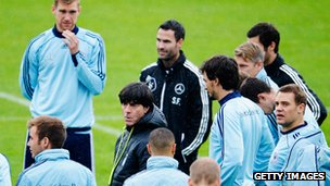 Head coach Joachim Loew of Germany reacts during a training session