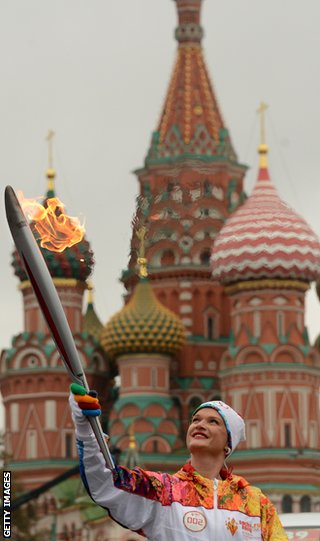 Three-time world champion gymnast Svetlana Khorkina was involved in the torch relay