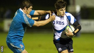Tommaso Allan in action for Scotland against Italy in the U20 Six Nations
