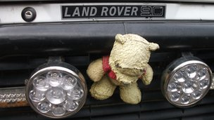 A Land Rover mascot
