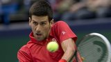 Novak Djokovic in action in Shanghai