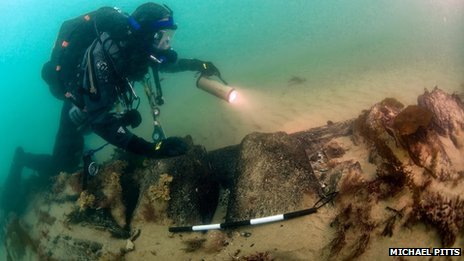 Dan Pascoe surveys the HMS Invincible, a Protected Wreck Site at Horse and Dean Sand
