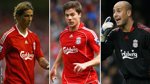 (left to right) Fernando Torres, Xabi Alonso and Pepe Reina