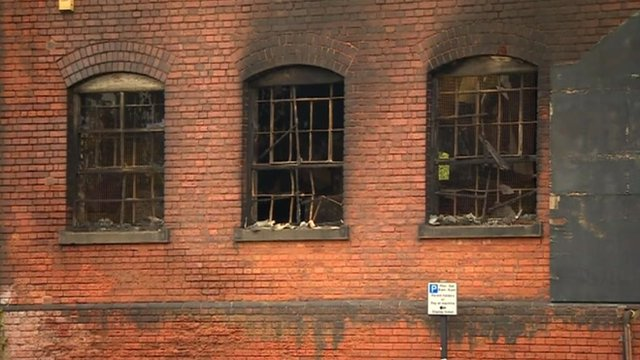 Windows of a building damaged by fire