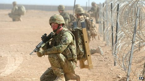 British troops training at Camp Bastion