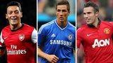 Mesut Ozil, Fernando Torres and Robin van Persie