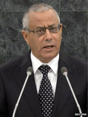 Libyan Prime Minister Ali Zeidan speaks at the 68th United Nations General Assembly in New York on 25 September 2013.