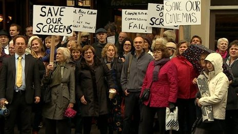 Protesters outside Arts Picturehouse cinema in Cambridge