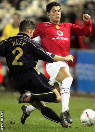 Cristiano Ronaldo in action against Exeter