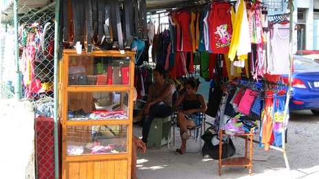 A clothes stall in Havana in October 2013