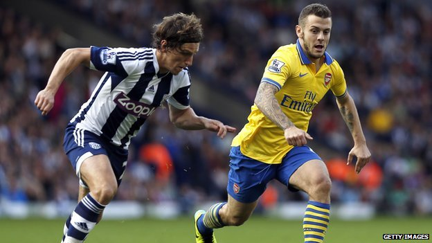 Arsenal's English midfielder Jack Wilshere  runs with the ball in front of West Bromwich Albion's English defender Billy Jones.