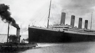 The Titanic leaves Southampton on April 10, 1912