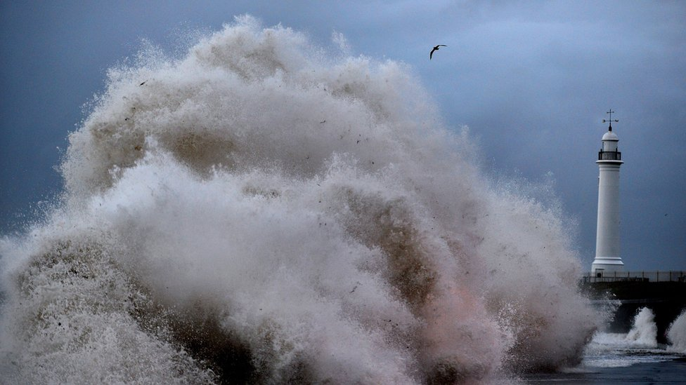 Huge waves battering the coast at Seaburn near Sunderland