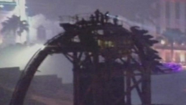 People stranded at top of rollercoaster