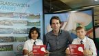 School Reporters Asma and Rory with adventurer Mark Beaumont