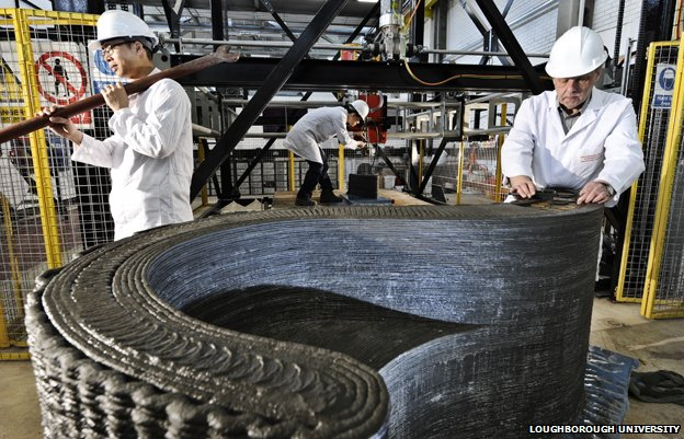Additive manufacturing a curved building component