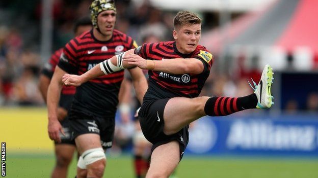 Owen Farrell and Kelly Brown of Saracens