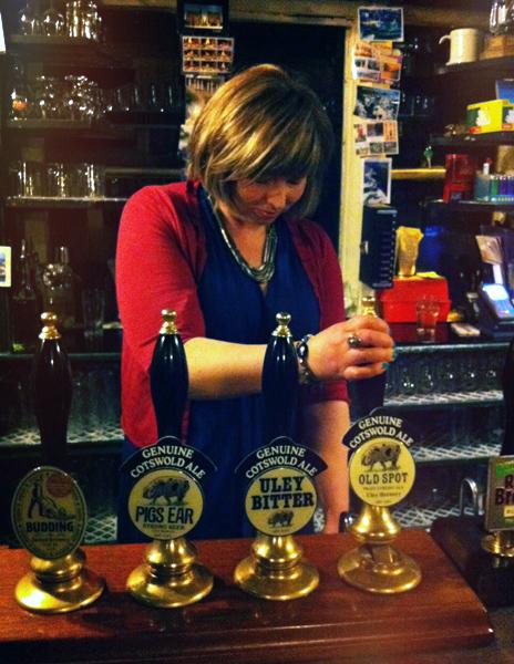 Helen pulls a pint