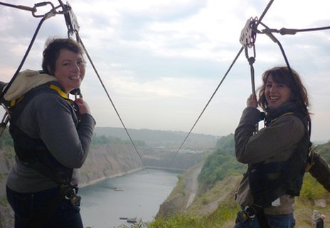 Helen on a zip wire