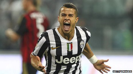 Sebastian Giovinco of Juventus FC celebrates his goal in this season's Serie A match against AC Milan